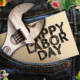 "jeans with flowers, wrench, and the words ""happy Labor Day"""