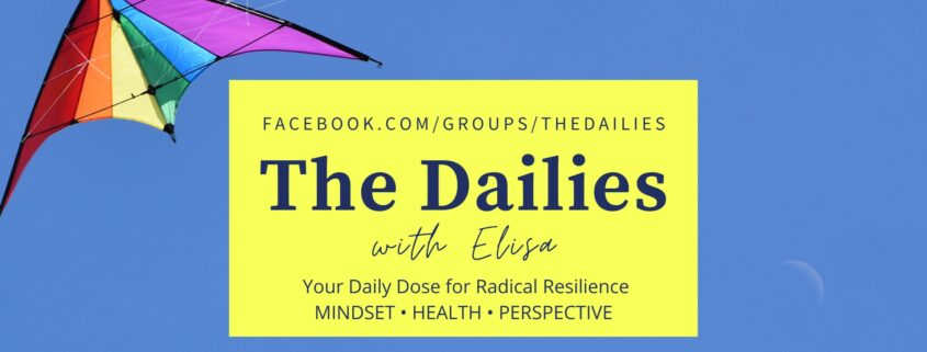 Blue sky with rainbow kite. Text reads: The Dailies with Elisa. Facebook.com/groups/thedailies Your daily dose for radical resilience. Mindset, health perspective